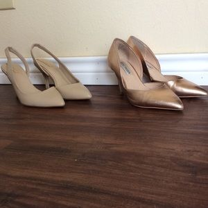Rose Gold and Beige Pointed Toe Heels Size 5
